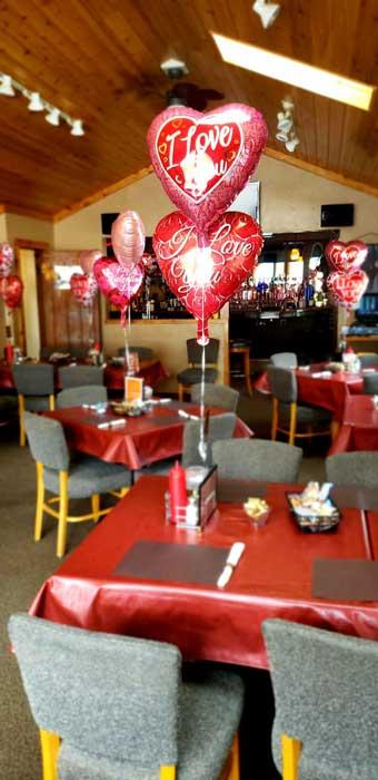 Valentines Day decor at the Olde Cedar Inn